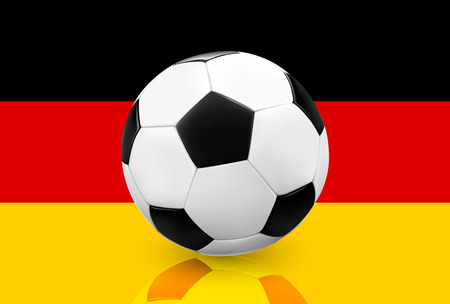 germany: Realistic soccer ball  football on German flag background. Vector illustration. Illustration