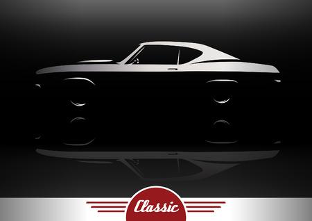 Classic Sports Muscle Car Vehicle Silhouette Vector Design Çizim