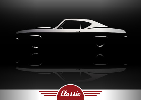 Classic Sports Muscle Car Vehicle Silhouette Vector Design Illustration
