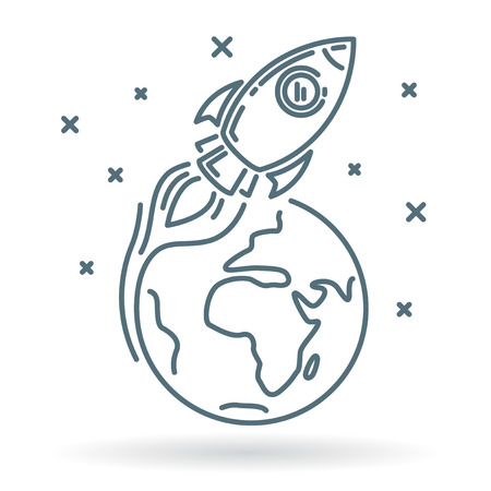 earth from space: Conceptual rocket orbit earth icon. Rocket orbit earth sign. Rocket orbit earth symbol. Thin line icon on white background. Vector illustration of rocket orbiting earth in space with stars.