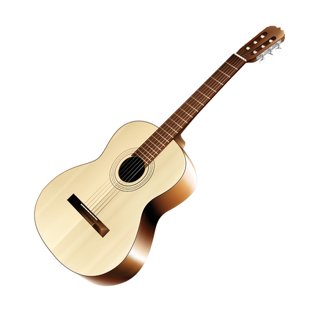 strum: Isolated realistic classical acoustic guitar. Vector illustration. Illustration