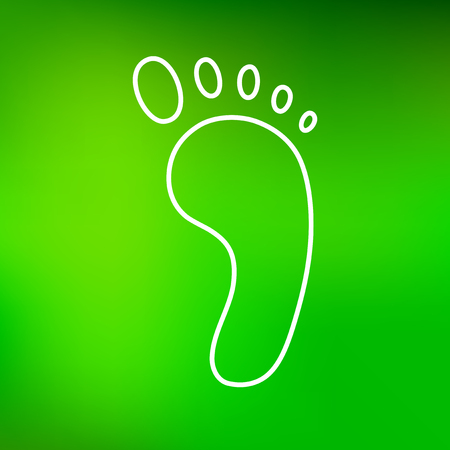 foot steps: Green foot icon. Foot sign. Foot symbol. Thin line icon on green background. Vector illustration.