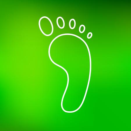 fußsohle: Green foot-Symbol. Fuß Zeichen. Fuß-Symbol. Dünne Linie Symbol auf grünem Hintergrund. Vektor-Illustration.