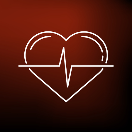 heartbeat line: Conceptual heartbeat icon. Conceptual heartbeat sign. Conceptual heartbeat symbol. Thin line icon on red background. Vector illustration. Illustration