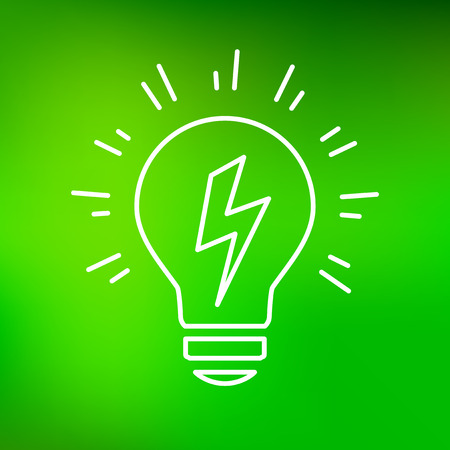 thin bulb: Conceptual lightbulb Idea icon. Conceptual lightbulb Idea sign. Conceptual lightbulb Idea symbol. Thin line icon on green background. Vector illustration.