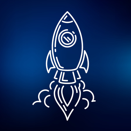 mosca caricatura: Rocket launch icon. Rocket launch sign. Rocket launch symbol. Thin line icon on blue background. Vector illustration.