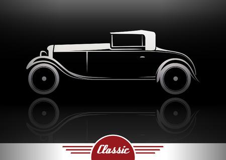 antique car: Classic Vintage Vehicle Retro Car Silhouette Design. Vector illustration.