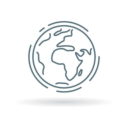惑星の地球のアイコン。惑星地球の記号。惑星地球のシンボル。白い背景の上の細い線のアイコン。ベクトルの図。
