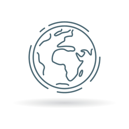 Planet earth icon. Planet earth sign. Planet earth symbol. Thin line icon on white background. Vector illustration. Vectores