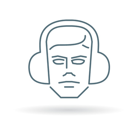 ear muffs: Worker with ear muffs icon. Worker with ear muffs sign. Worker with ear muffs symbol. Thin line icon on white background. Vector illustration. Illustration