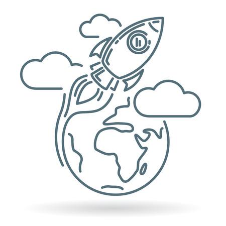 orbiting: Conceptual rocket orbit earth icon. Rocket orbit earth sign. Rocket orbit earth symbol. Thin line icon on white background. Vector illustration of rocket orbiting earth with clouds. Illustration
