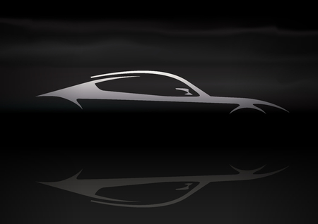 Original Auto Vehicle Vector Design of a Fast Conceptual Super Car Silhouette on Black Background