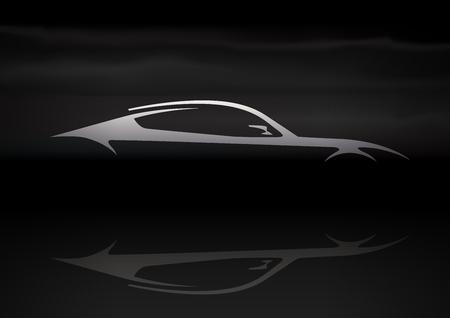 Oryginalny Samochód Vector Design Fast Conceptual Super Car Silhouette na czarnym tle