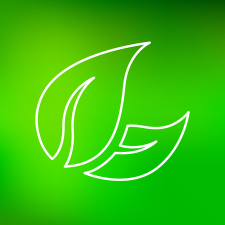 green line: Green leaves icon. Leaves sign. Leaves symbol. Thin line icon on green background. Vector illustration. Illustration