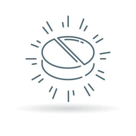 simbolo medicina: icono de píldora de la medicina. signo de píldora de la medicina. símbolo de píldora de la medicina. icono de línea fina en el fondo blanco. Ilustración del vector.