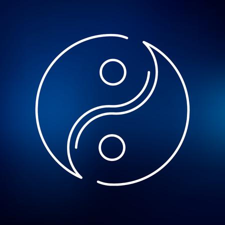 yin y yang: icono de Yin Yang. signo de Yin Yang. símbolo de Yin Yang. icono de línea fina en el fondo azul. Ilustración del vector.