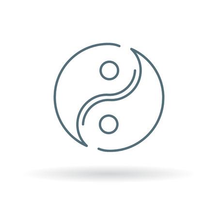 simbolo della pace: Yin Yang icona. segno di Yin Yang. simbolo Yin Yang. Linea sottile icona su sfondo bianco. Illustrazione vettoriale. Vettoriali
