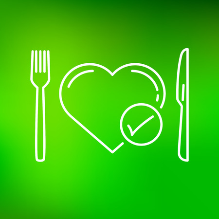 eat healthy: Conceptual eat healthy icon. Conceptual eat healthy sign. Conceptual eat healthy symbol. Thin line icon on green background. Vector illustration.