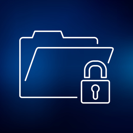 confidentiality: Secure folder icon. Secure folder sign. Secure folder symbol. Thin line icon on blue background. Vector illustration.