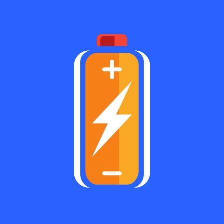 sign orange: Orange battery charge icon. battery charge sign. battery charge symbol. Battery on blue background. Vector illustration. Illustration