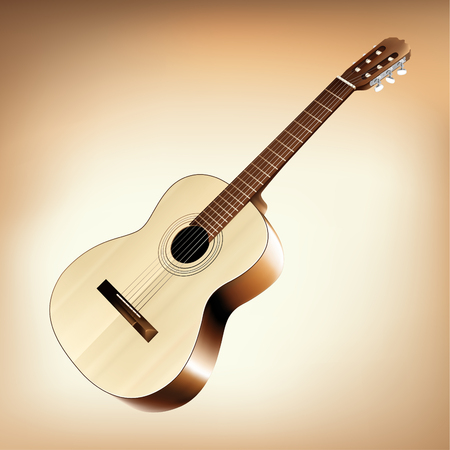 strum: Realistic classic acoustic guitar. Vector illustration.