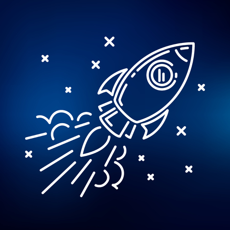 space cartoon: Conceptual rocket flying icon. Rocket flying sign. Rocket flying symbol. Thin line icon on blue background. Vector illustration of rocket flying through space with stars. Illustration