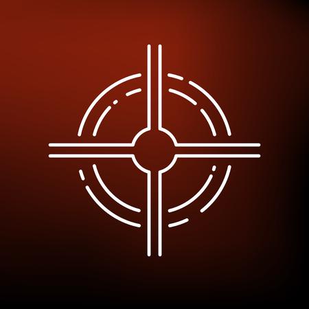 scope: Scope target icon. Scope target sign. Scope target symbol. Thin line icon on red background. Vector illustration. Illustration