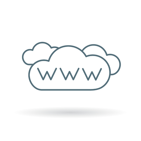 www internet cloud icon. www internet cloud sign. www internet cloud symbol. Thin line icon on white background. Vector illustration.