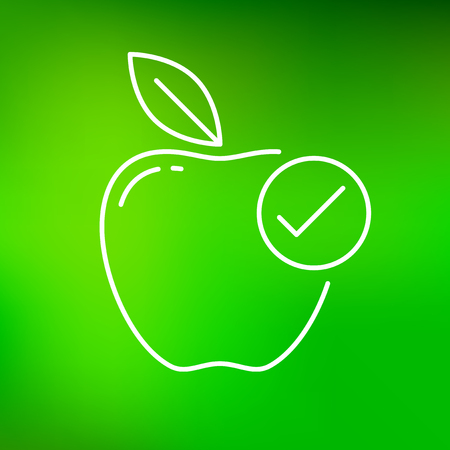 tick icon: Healthy apple icon. Healthy apple sign. Healthy apple symbol. Thin line icon on green background. Healthy choice grade apple vector illustration. Illustration