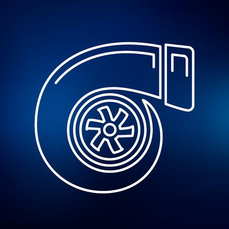 turbocharger: Performance car turbo icon. Performance turbo sign. Performance turbo symbol. Thin line icon on blue background. Vector illustration.