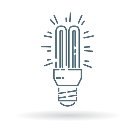 thin bulb: Fluorescent light bulb icon. Fluorescent light bulb sign. Fluorescent light bulb symbol. Thin line icon on white background. Vector illustration. Illustration