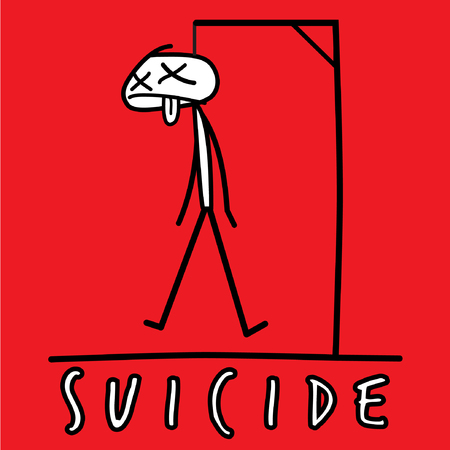 suicidal: Hang man suicide drawing on red background. Vector illustration