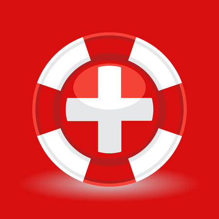 emergency medical: Lifebuoy  life preserver with medical cross icon concept on red background. Vector illustration Illustration