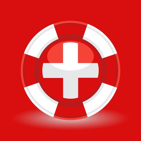 emergencia medica: salvavidas salvavidas con la cruz médica concepto de icono en el fondo rojo. ilustración vectorial