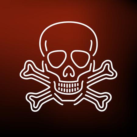 peligro: Cuidado con el icono del cráneo peligro. Cuidado con la muestra del cráneo peligro. Cuidado con símbolo del cráneo peligro. icono de línea fina en el fondo rojo. Ilustración del vector. Vectores