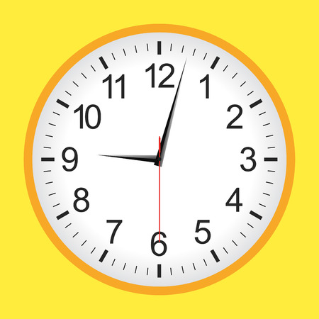 Flat style yellow analogue clock .Vector illustration.
