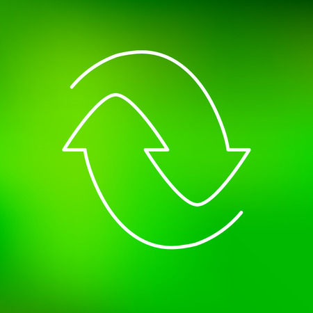 recycle icon: Recycle icon. Recycle sign. Recycle symbol. Thin line icon on green background. Vector protect the environment illustration. Illustration