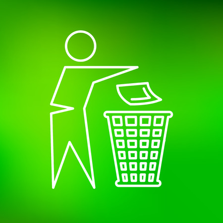 dispose: Dispose trash icon. Dispose trash sign. Dispose trash symbol. Thin line icon on green background. Vector illustration.