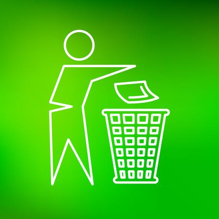 Verwijder vuilnis pictogram. Verwijder vuilnisbord. Verwijder vuilnis symbool. Dun lijn icoon op groene achtergrond. Vector illustratie.