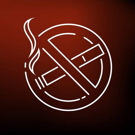 no icon: No smoking zone icon. No smoking zone sign. No smoking zone symbol. Thin line icon on red background. Vector illustration.