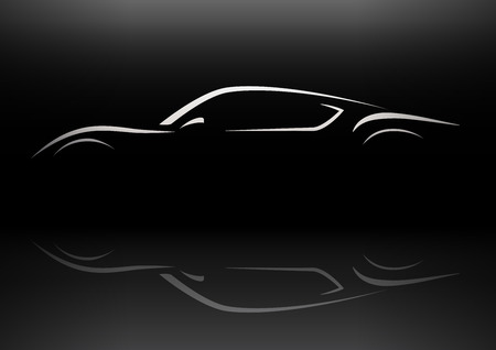 Conceptual retro style sports car silhouette vector design with reflection