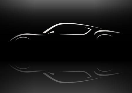 Conceptual retro style sports car silhouette vector design with reflection