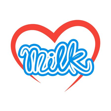 cow vector: Blue milk text and red heart icon concept. Vector design Illustration