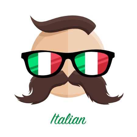 supporter: Italian hipster man with flag glasses and mustache  moustache. Vector illustration. Illustration