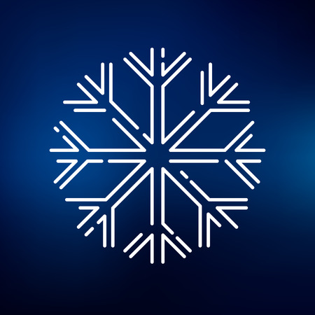 flake: Snow flake icon. Snow flake sign. Snow flake symbol. Thin line icon on blue background. Vector illustration.