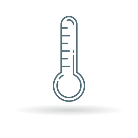 Thermometer icon. Thermometer sign. Thermometer symbol. Thin line icon on white background. Vector illustration. 矢量图像