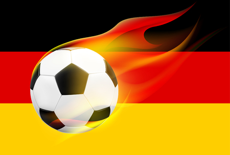 flames background: Realistic flying soccer ball  football with hot flames on German flag background. Vector illustration. Illustration