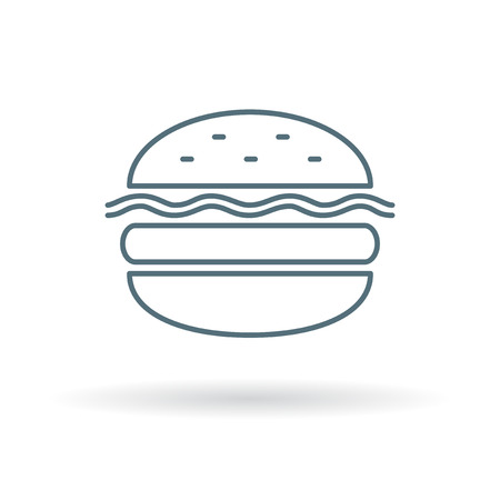 cheese burger: Cheese burger icon. Cheese burger sign. Cheese burger symbol. Thin line icon on white background. Vector illustration.