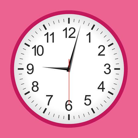 Pink flat style analogue clock .Vector illustration. Vectores