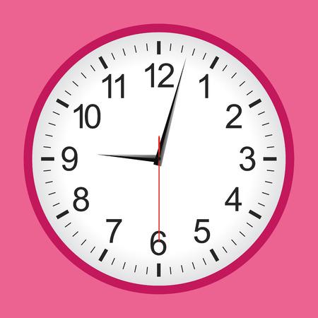 reloj pared: reloj analógico estilo plano de color rosa ilustración de vector. Vectores